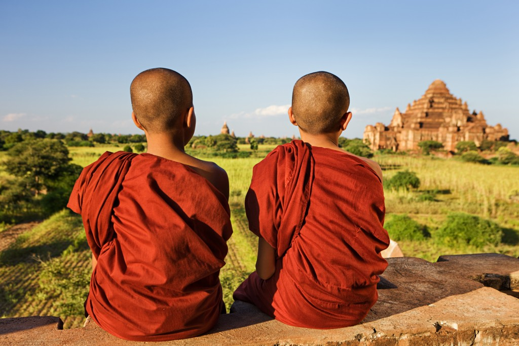"""Portrait of two young Buddhist monks, Bagan, Myanmar (Burma)"""